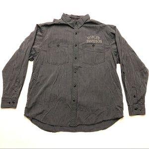 Harley Davidson Button Up Shirt Stripe 2XL Black